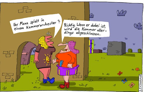 Cartoon: Der Musiker (medium) by Leichnam tagged musiker,zuschluss,schlüssel,kammerorchester,damen,gespräch,leichnam,leichnamcartoon