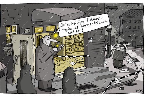 Cartoon: Krimi (medium) by Leichnam tagged krimi,wasserleiche,sauwetter,kommissar,holmes,polizei,mord