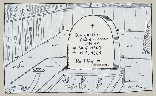 Cartoon: R.I.P. (medium) by Leichnam tagged ruhe,in,frieden,friedhof,totenacker,verstorben,leiche,grab,grabstein,kevin,justin,malte,lennox