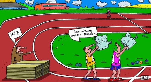 Cartoon: Sportler (medium) by Leichnam tagged sportler,filmen,drehen,kamera,aschenbahn,läufer,sprinter,hä,leichtathletik
