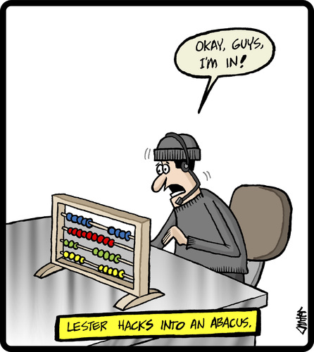 Cartoon: Abacus Hacker (medium) by cartertoons tagged abacus,calculators,math,computers,hacking,stealth,technology,abacus,calculators,math,computers,hacking,stealth,technology