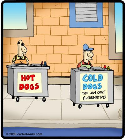 Cartoon: Cold Dogs (medium) by cartertoons tagged hot,dogs,street,vendor,cart,food,salesman