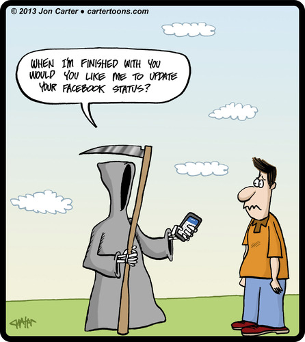 Cartoon: Death Status (medium) by cartertoons tagged death,grim,reaper,smartphones,technology,facebook,apps,status,death,grim,reaper,smartphones,technology,facebook,apps,status
