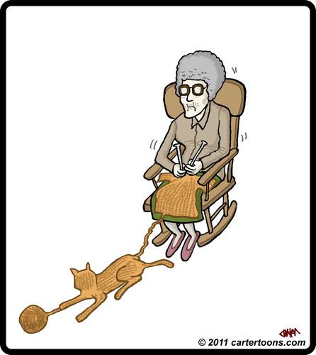 Grandma Knitting Cartoon : Knit cat by cartertoons media culture cartoon toonpool