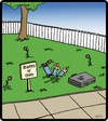 Cartoon: Attack Yard (small) by cartertoons tagged yard,grass,lawn,surreal,signs,postings,eating,horror