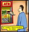 Cartoon: Automated Taco Maker (small) by cartertoons tagged atm,cash,money,banking,food,taco,customers