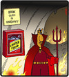 Cartoon: Hell Emergencies (small) by cartertoons tagged heaven,hell,fire,emergencies,devil,container,gasoline