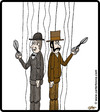Cartoon: Marionette duel (small) by cartertoons tagged puppets,marionettes,duel,strings