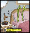 Cartoon: Snake Alarm Clocks (small) by cartertoons tagged snakes,animals,alarm,clocks,bed,waking,bedroom,indian,charmer
