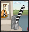 Cartoon: Tie Gate Worker (small) by cartertoons tagged tie,gate,parking,lot