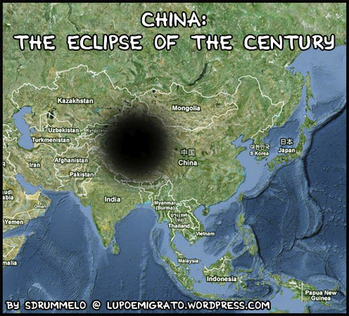 Cartoon: Free Tibet (medium) by sdrummelo tagged eclipse,of,the,century,total,solar,china,sky,free,tibet