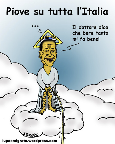 Cartoon: It-s raining all over Italy (medium) by sdrummelo tagged silvio,berlusconi,rain,pioggia