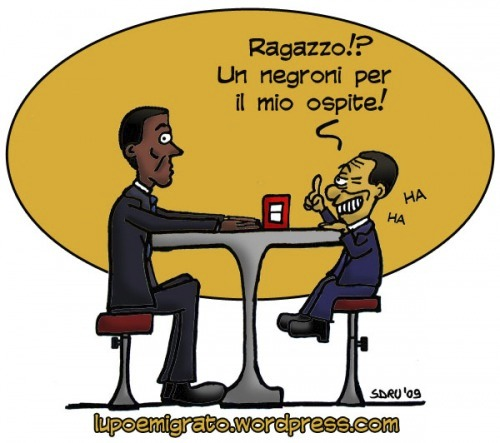 Cartoon: Mr. President (medium) by sdrummelo tagged silvio,berlusconi,obama,negro,abbronzato,battute,barzellette,premier,bar