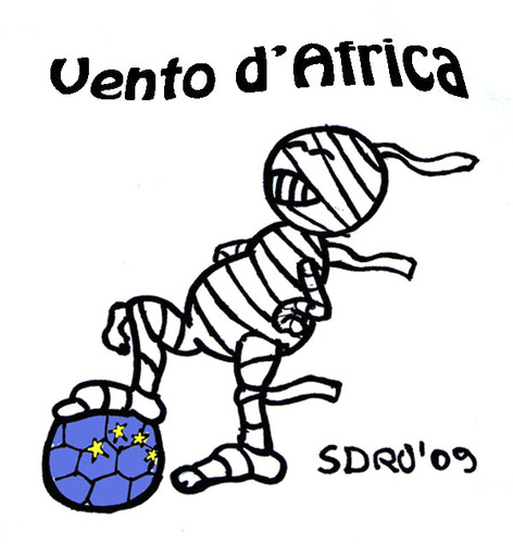 Cartoon: Calcio (medium) by sdrummelo tagged calcio,soccer,cannavaro,napoli,calciatori,coppa,africa,usa,egitto,lippi