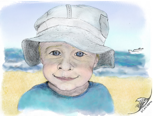 Cartoon: Jonas 2 (medium) by swenson tagged face,portrait,gesicht,child,kind,strand,meer,sea,coast
