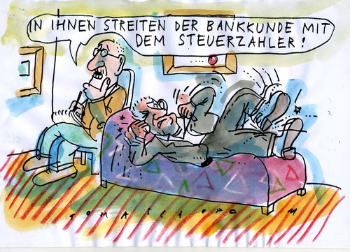 Cartoon: Bankenrettung (medium) by Jan Tomaschoff tagged bankenrettung,bankenrettung,banken,bank