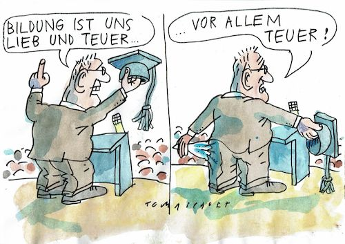 Cartoon: Bildung (medium) by Jan Tomaschoff tagged bildung,kosten,sparpolitik,bildung,kosten,sparpolitik