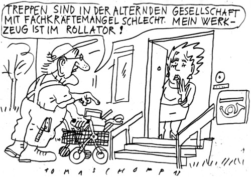 Cartoon: Demografie (medium) by Jan Tomaschoff tagged demografie,fachkräftemangel,demografie,fachkräftemangel