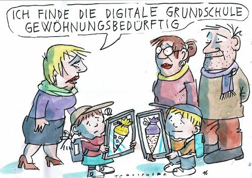 Cartoon: digital (medium) by Jan Tomaschoff tagged digitalisierung,schule,digitalisierung,schule