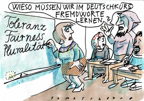 Cartoon: Fremdworte (medium) by Jan Tomaschoff tagged intergration,eigen,fremd,intergration,eigen,fremd