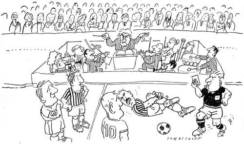 Cartoon: Fußball-Oper (medium) by Jan Tomaschoff tagged fußball