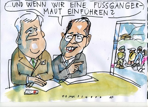 Cartoon: Fussgängermaut (medium) by Jan Tomaschoff tagged migration,maut,bayern,migration,maut,bayern