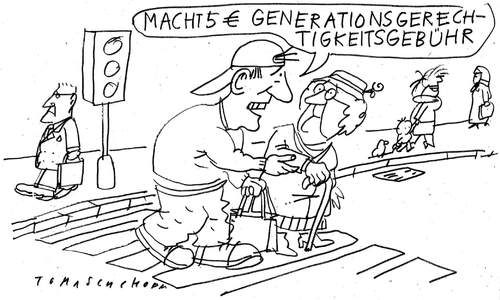 Cartoon: Generartionengerechtigkeit (medium) by Jan Tomaschoff tagged generationen,renten