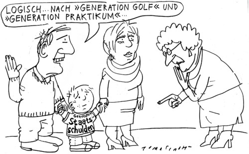 Cartoon: Generation Golf (medium) by Jan Tomaschoff tagged generation,golf,praktikum,familie,kinder,alter,generation,golf,praktikum,familie,kinder,alter