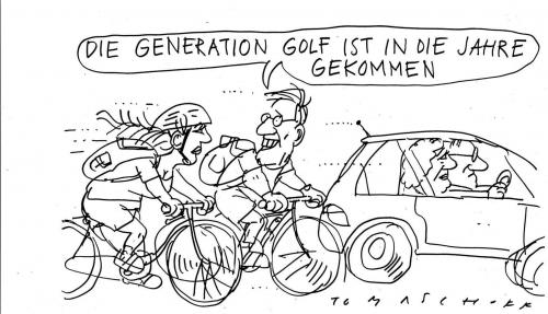 Cartoon: Generation Golf (medium) by Jan Tomaschoff tagged generationen,golf
