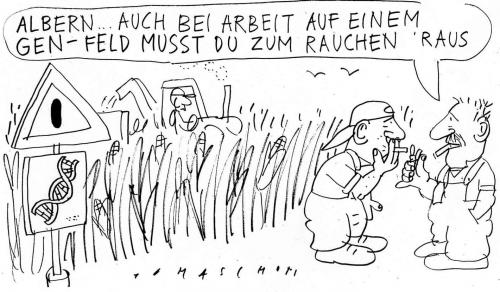 Cartoon: Gentechnik (medium) by Jan Tomaschoff tagged gentechnik,stammzellenforschung,rauchen,