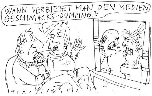 Cartoon: Geschmacks-Dumping (medium) by Jan Tomaschoff tagged geschmacksdumping