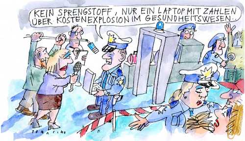 Cartoon: Kostenexplosion (medium) by Jan Tomaschoff tagged kostenexplosion,gesundheitswesen