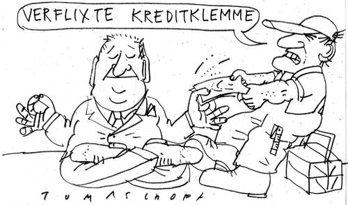 Cartoon: Kreditklemme (medium) by Jan Tomaschoff tagged kreditklemme,banken,wirtschaft,mittelstand,konjunkturgipfel