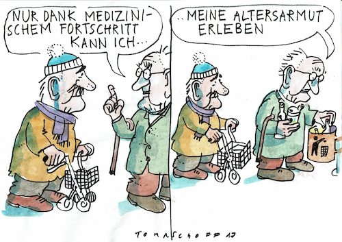 Cartoon: Lebenserwartung (medium) by Jan Tomaschoff tagged alter,renten,armut,alter,renten,armut