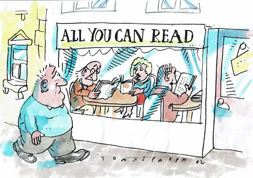 Cartoon: Lesen (medium) by Jan Tomaschoff tagged bildung,hunger,bildung,hunger