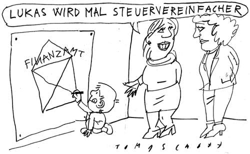 Cartoon: Lukas (medium) by Jan Tomaschoff tagged steuersystem,steuervereinfachung