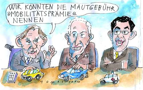 Cartoon: Maut (medium) by Jan Tomaschoff tagged autobahn,maut,pkw,autobahn,maut,pkw,autos,geld