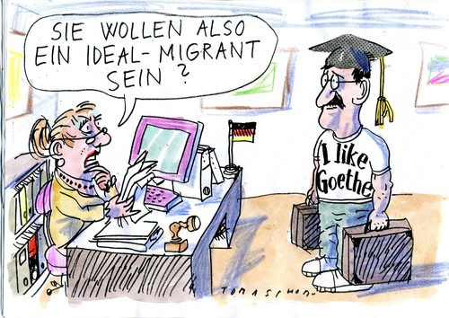 Cartoon: Migration (medium) by Jan Tomaschoff tagged migration,migranten,ausländer,bürger,einbürgerung,migration,migranten,ausländer,bürger,einbürgerung,goethe
