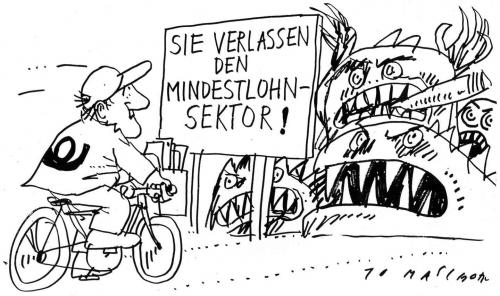 Cartoon: Mindestlohn (medium) by Jan Tomaschoff tagged mindestlohn,