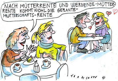 Cartoon: Mütterrente (medium) by Jan Tomaschoff tagged mütterrente,nachwuchs,mütterrente,nachwuchs