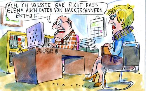 Cartoon: Nacktscanner (medium) by Jan Tomaschoff tagged nacktscanner,flugsicherheit,terroranschlag,elena