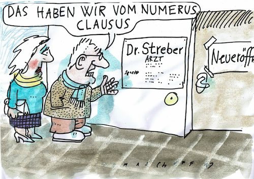 Numerus clausus by jan tomaschoff philosophy cartoon for Was ist numerus clausus