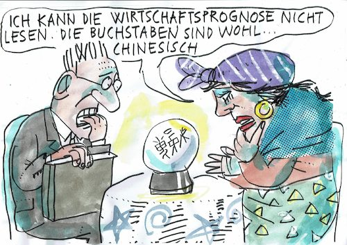 Cartoon: Prognose (medium) by Jan Tomaschoff tagged wirtschaft,prognose,wachstum,rezession,china,wirtschaft,prognose,wachstum,rezession,china