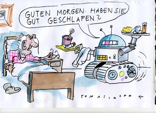 Cartoon: Roboterpflege (medium) by Jan Tomaschoff tagged pflege,fachkräftemangel,roboter,pflege,fachkräftemangel,roboter