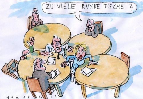 Runde tische by jan tomaschoff politics cartoon toonpool for Runde designer tische