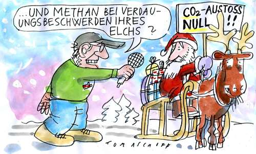 Cartoon: Schadstoffemissionen (medium) by Jan Tomaschoff tagged weihnachten,co2,klimawandel