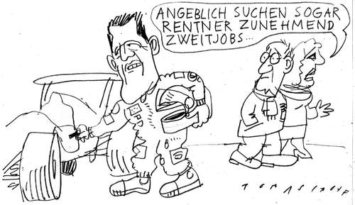 Cartoon: Schumacher (medium) by Jan Tomaschoff tagged schumacher,mercedes,formel,f1,rentner,renten