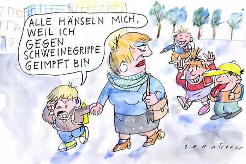 Cartoon: Schweinegrippe (medium) by Jan Tomaschoff tagged schweinegrippe,pandemie,swine,flu,impfstoff,h1n1,serum
