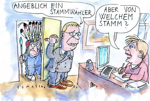 Cartoon: Stamm (medium) by Jan Tomaschoff tagged stammwähler,cdu,merkel,pofalla