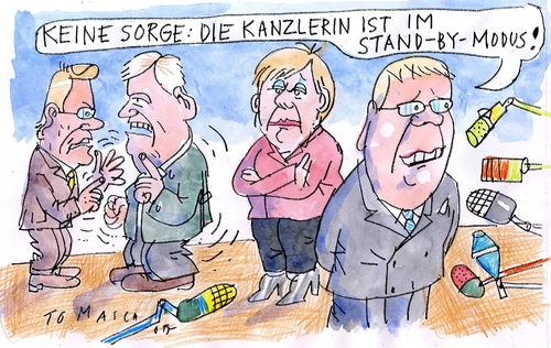 Cartoon: Stand-By (medium) by Jan Tomaschoff tagged schwarzgelb,merkel,westerwelle,seehofer,pofalla,cdu,csu,fdp